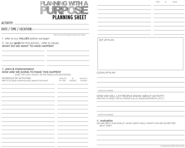 Planning With a Purpose Tutorial Purpose, Activities and Outlines - transition plan template