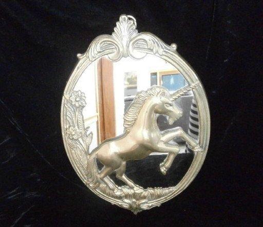 Brass Mirror Galloping Unicorn, Vintage Brass Mirror Wall Hanging