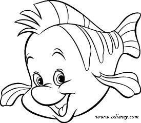 Flounder Biting Flower Cartoon Coloring Page Free Printable