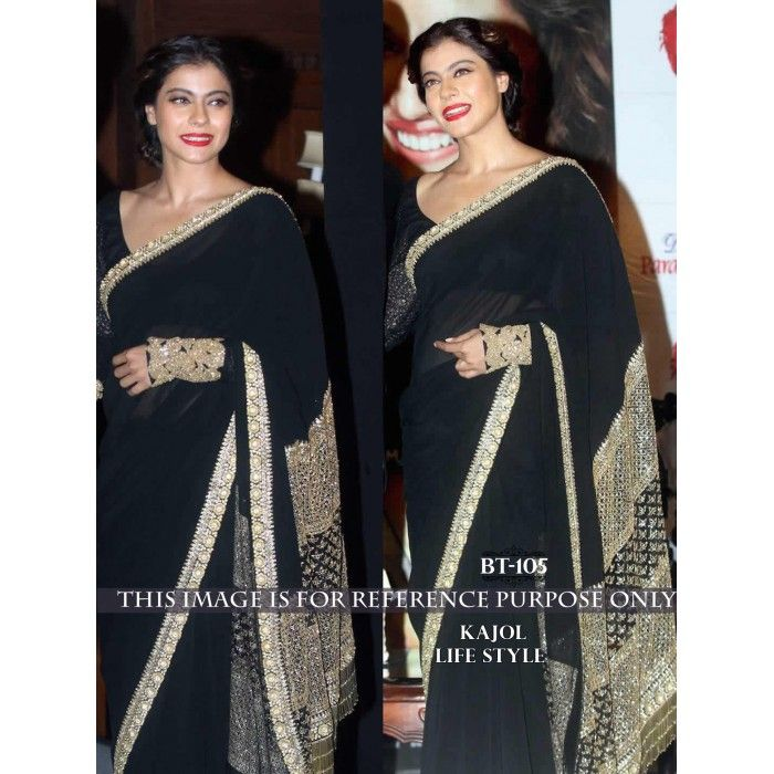 Beautiful Kajol Black Beauty Bollywood Replica Designer Georgette Saree BT105