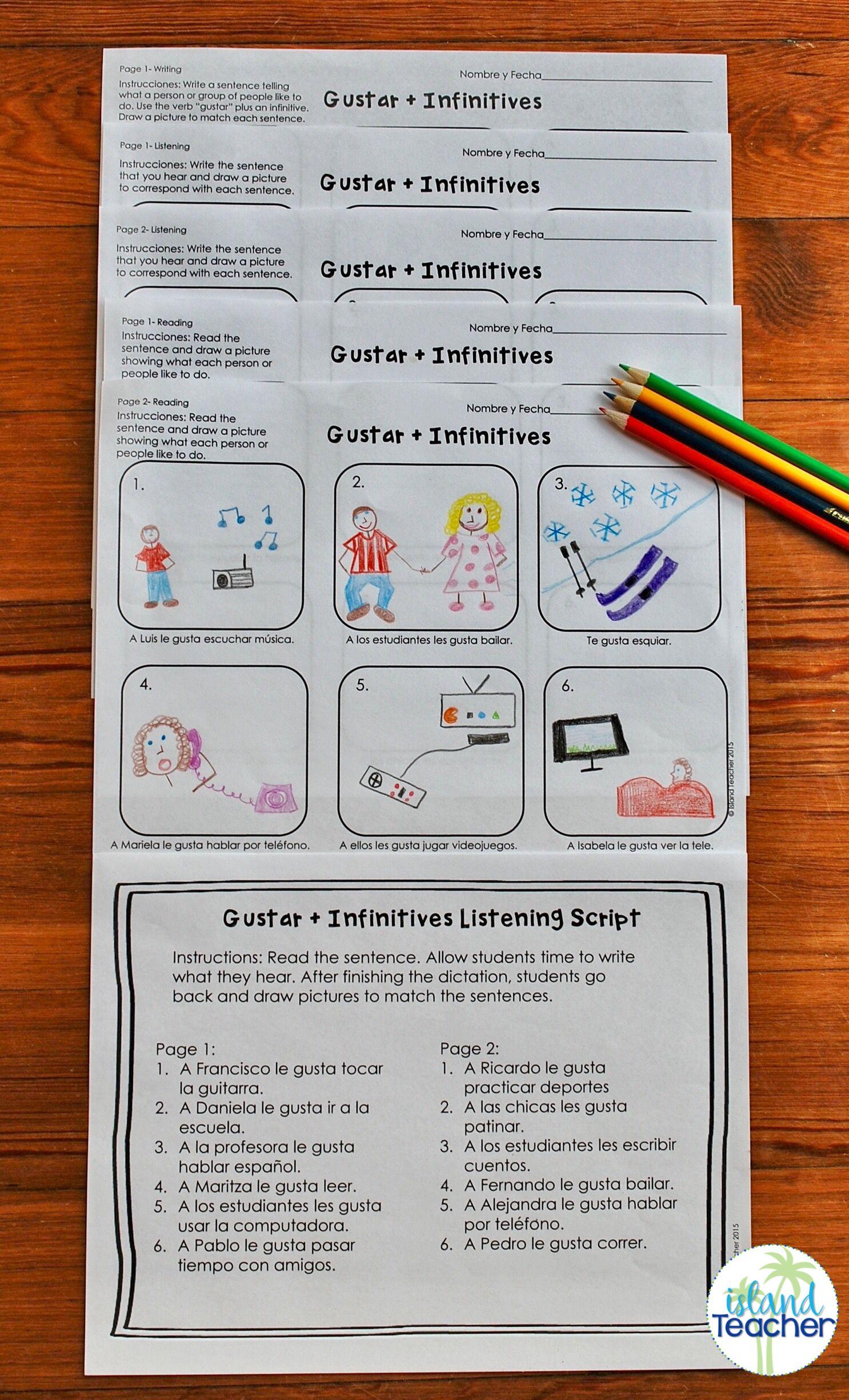 Gustar Plus Infinitive Spanish Drawing Activity Spanish Classroom Teaching Spanish Gustar Spanish Activities [ 2450 x 1486 Pixel ]