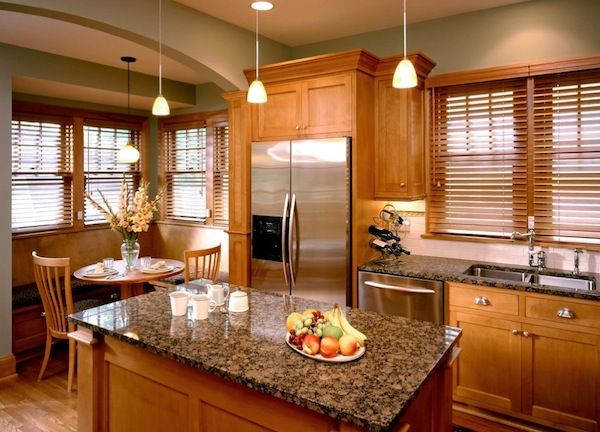 Adding Style To Your Home With Modern Window Blinds Kitchen Wall Colors Brown Granite Countertops Oak Kitchen