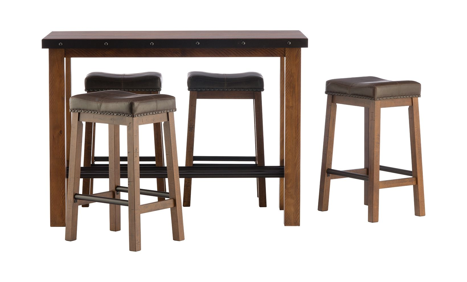 Taos pub table and stools rustic dining set metal accents and