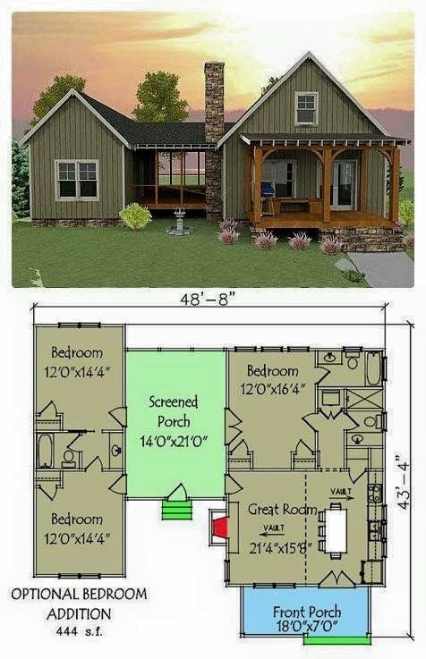 This Wouldn T Be Bad For Us Old Empty Nesters Dog Trot House Plans House Plans Cottage Plan