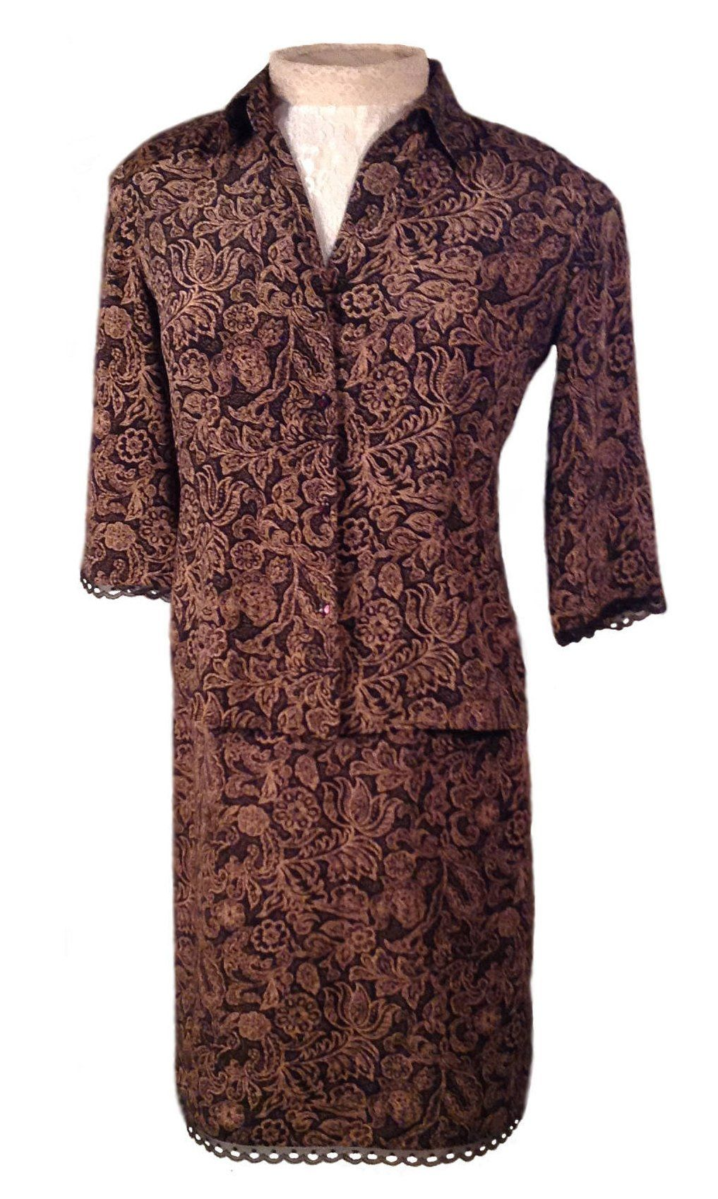 413ee3eeea72af Emma James   Liz Claiborne Women s Skirt and Blouse Set - 100% Silk Size 10  by CreativeDebs on Etsy