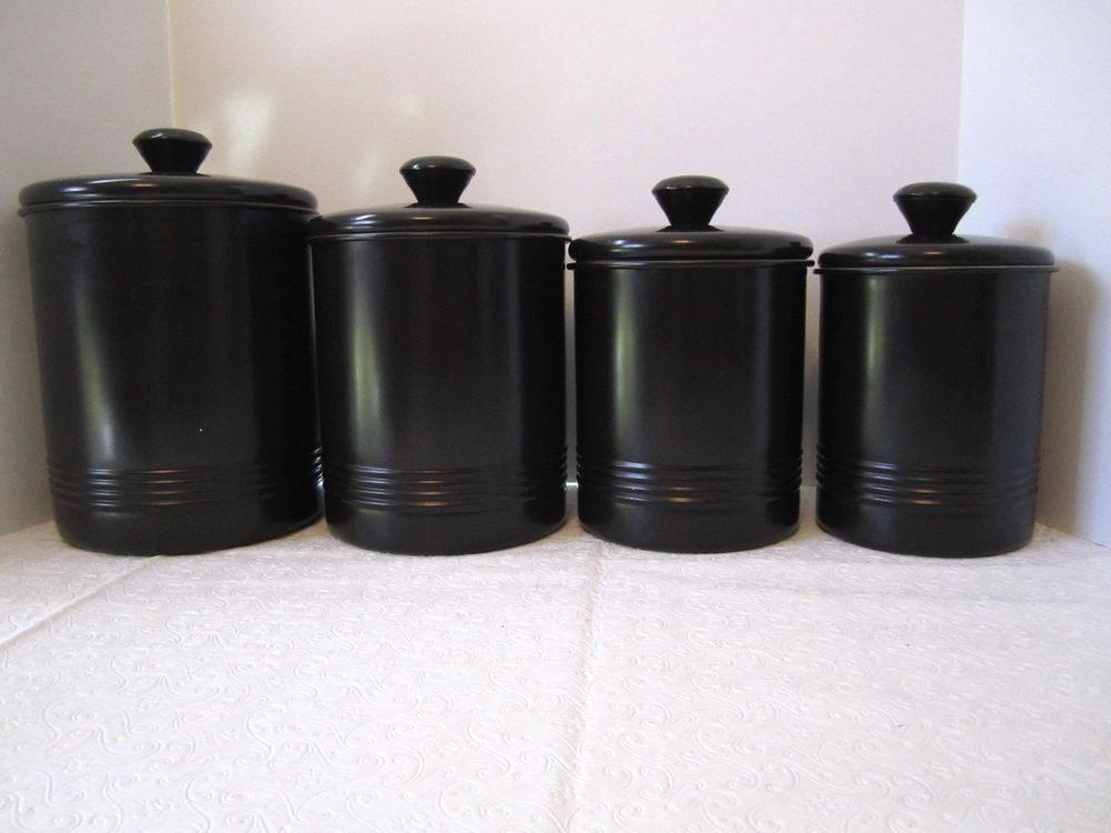 Black Canister Set Oggi Classic Metal Storage Tins Set Of 4 Cookie Jars Canister Sets Kitchen Canister Sets Classic Metal