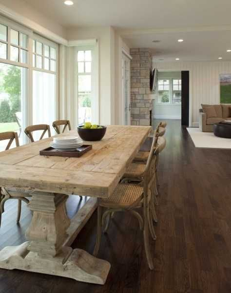 country style wood table and chairs in contemporary dining room ...