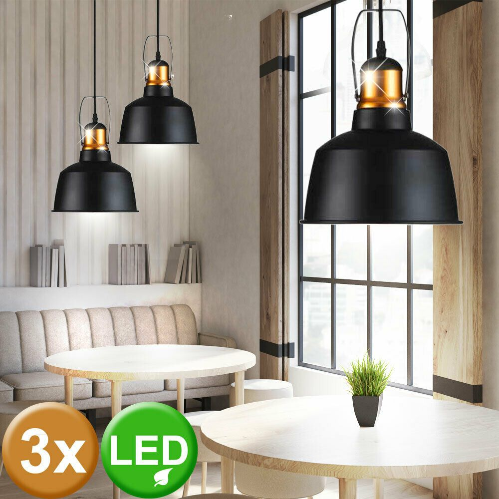 3er Set Led Vintage Hange Lampen Alu Decken Pendel Leuchte Filament Gold Schwarz