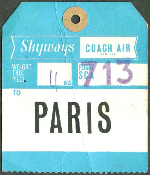 Skyways luggage tag from the office of The Casual Optimist