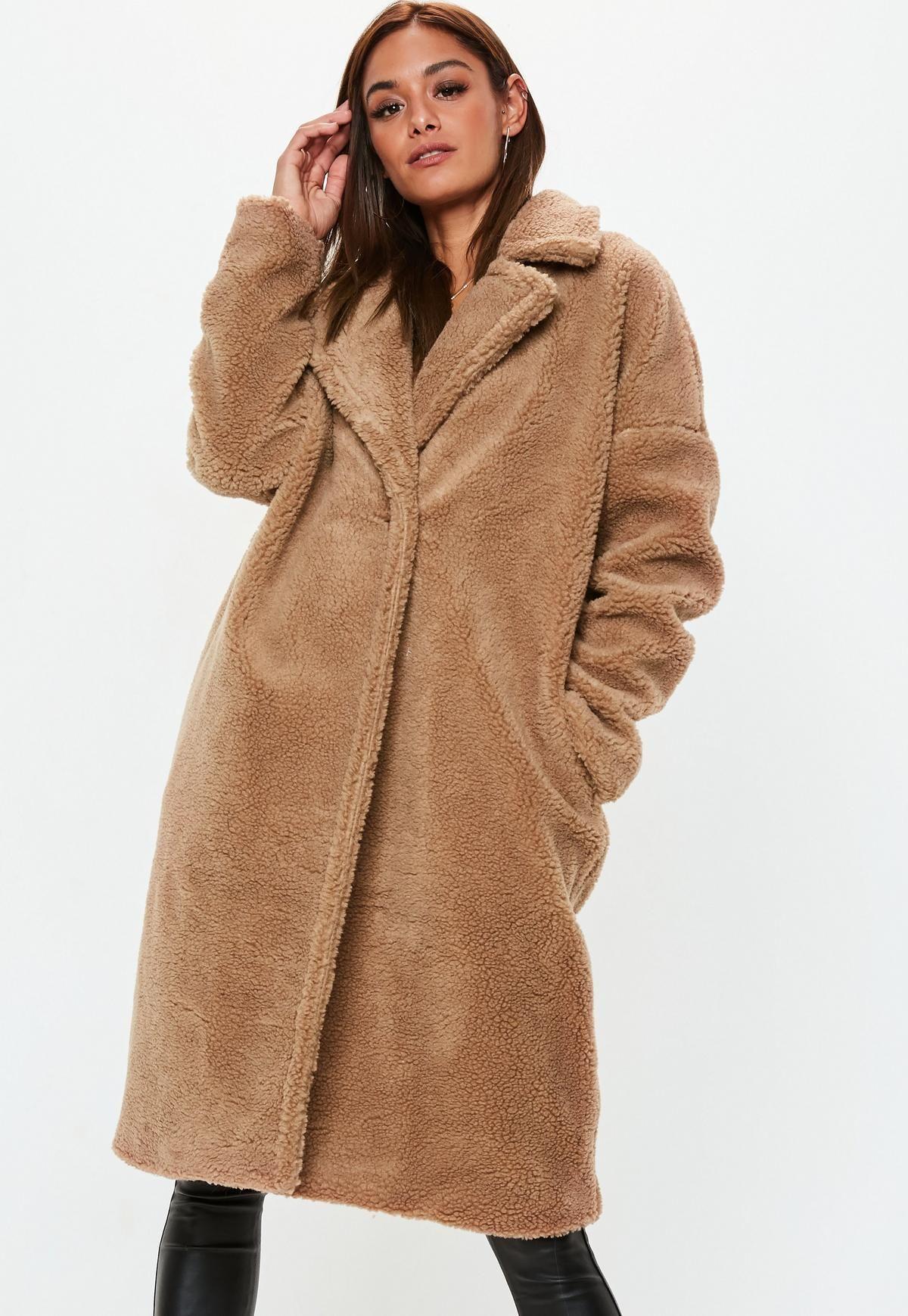 Caramel Oversized Chunky Borg Teddy Coat Missguided Coats For Women Coats Jackets Women Petite Outfits [ 1739 x 1200 Pixel ]