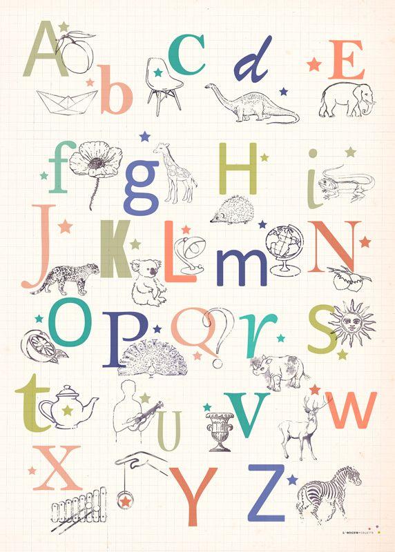 Retro Alphabet Poster Abecedaire Encre Violette Encre