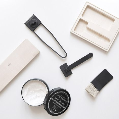 Graduate designer Jacques-Elie Craig Ribeyron's shaving set is made of stainles steel with a black PVD coating, normally applied to enhance the durability of industrial tools. The set includes a trimmer, razor and shaving brush, which Craig Ribeyron designedas part of his diploma project at theEcole Cantonale d'art de Lausanne (ECAL)in Switzerland. Movingparts arejoinedwith wing …