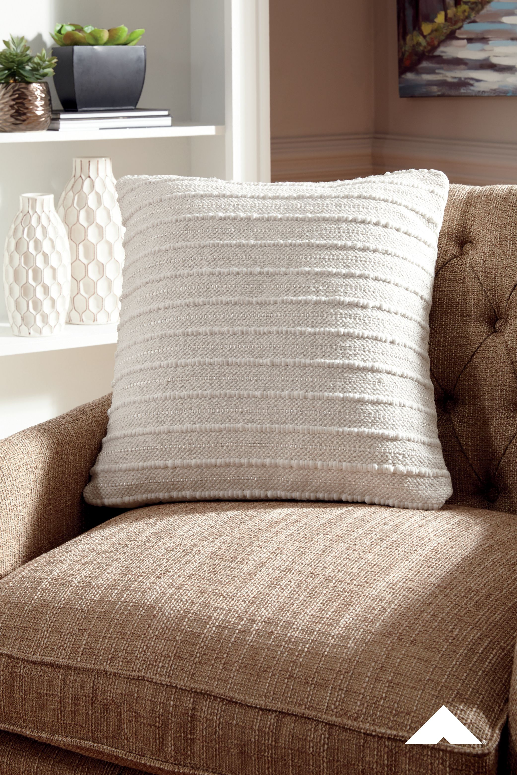 Theban Cream Pillow By Ashley Furniture Delighting With Handwoven Details The Exceptionally Versatile Accent In Is Truly A Dream