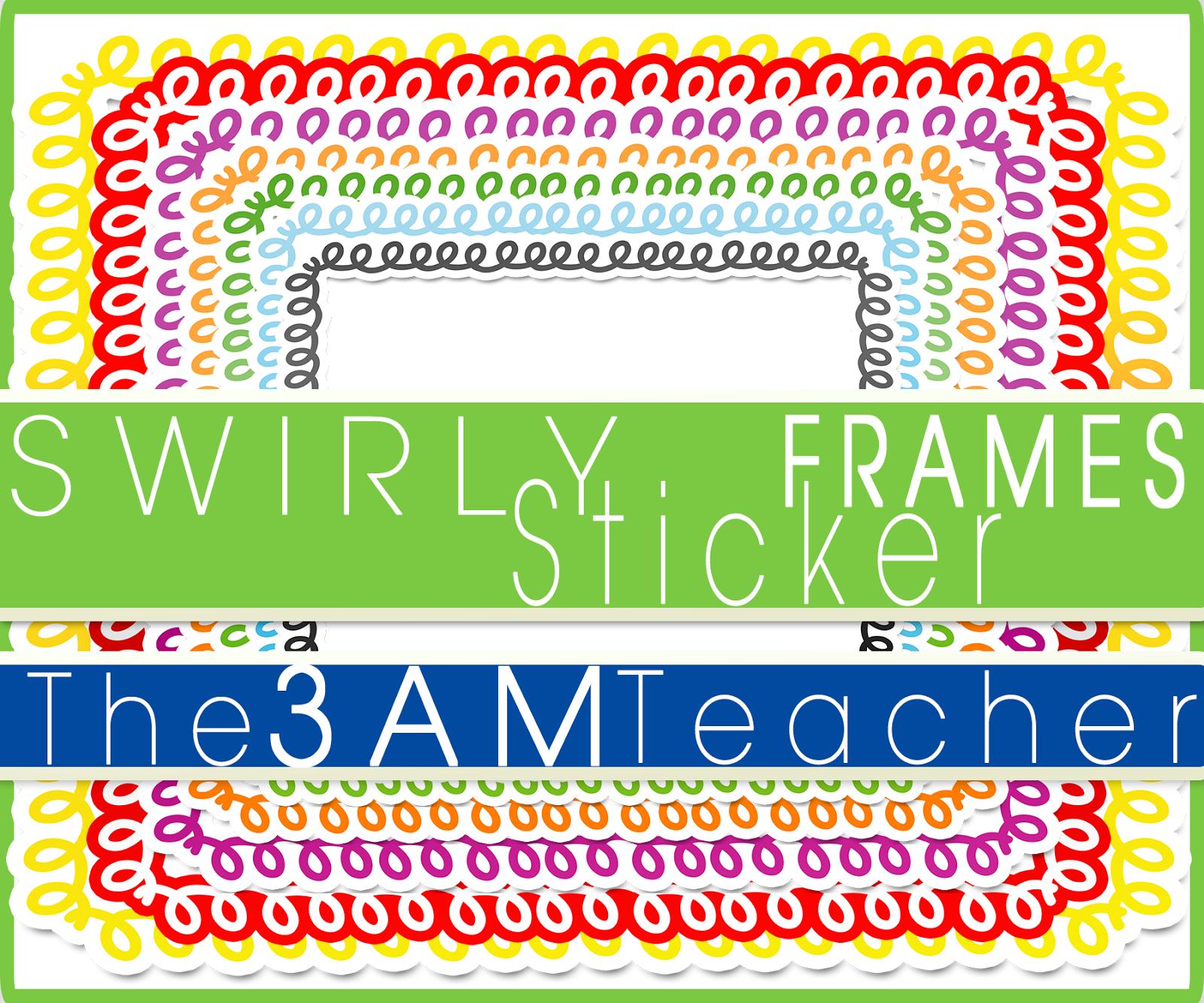 FREE Swirly Sticker Style Frames By The 3AM Teache