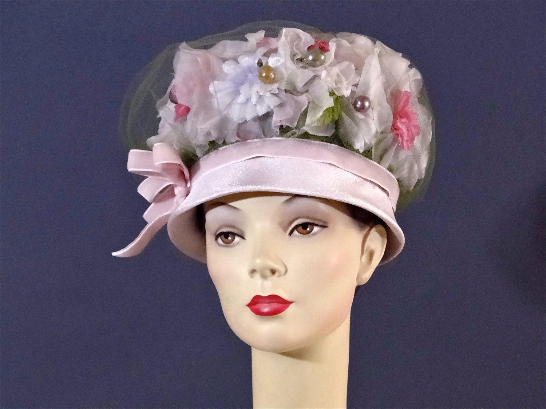 Vintage Mushroom Hat Mod Tall Crown 1960s Pink Silk Millinery