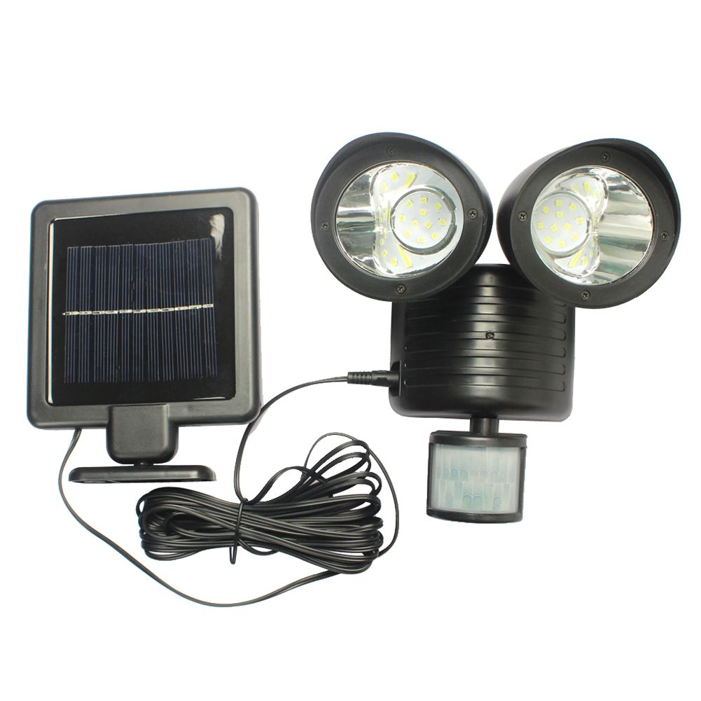 led solar light pir bewegingssensor rotable twee hoofden