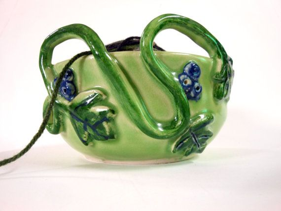 Grape Vine Ceramic Yarn Bowl $30.  Pretty