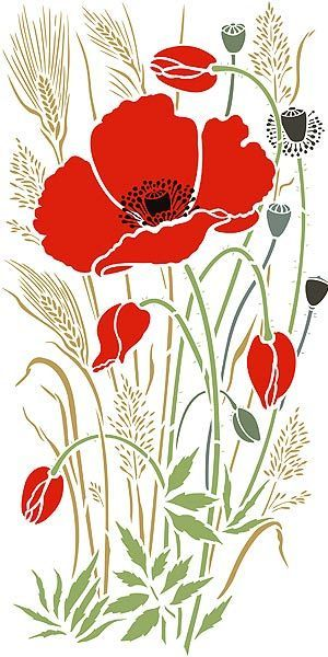 Large Wild Poppy and Grasses Stencil | Flower art, Fabric painting, Wild poppies #flowerfabric