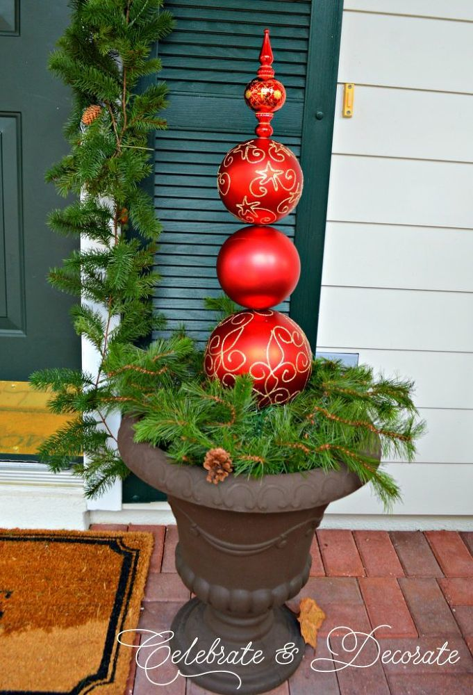 Christmas Topiary For Front Porch.Christmas Ornament Topiary Christmas Decor Christmas
