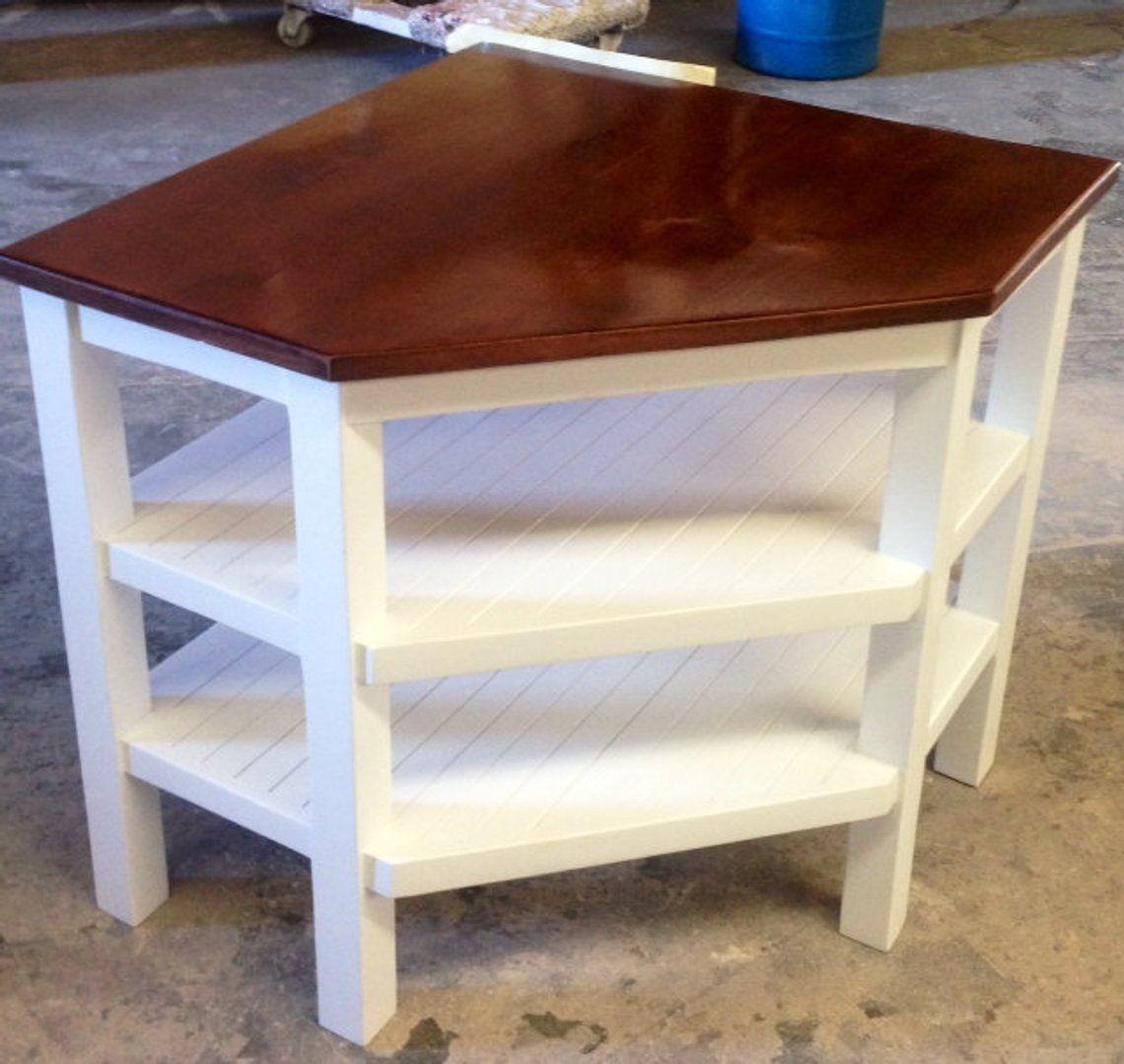 Handcrafted Corner Table Solid Wood | Corner table, Corner ...