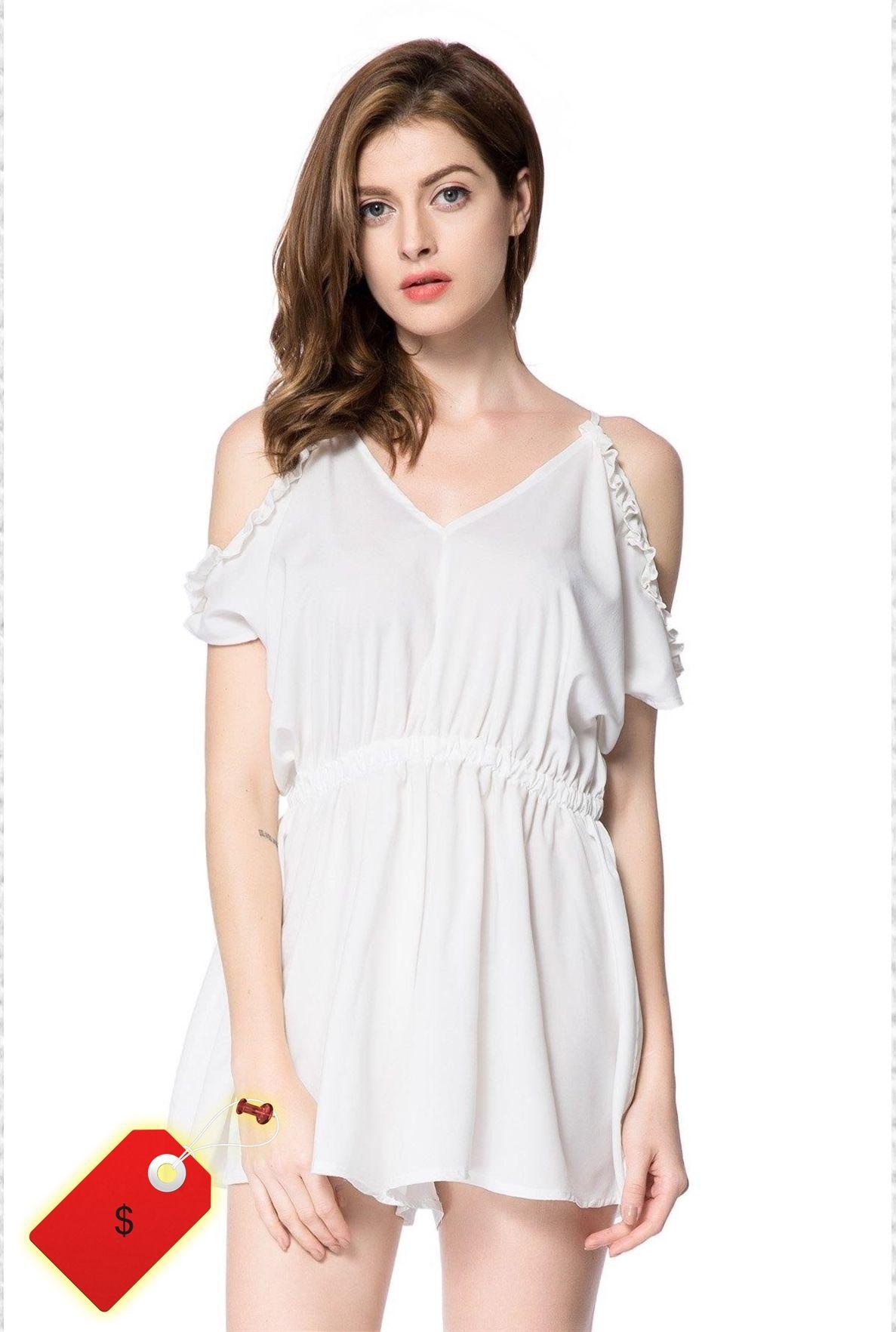 Alluring vneck short sleeve offtheshoulder solid color romper for