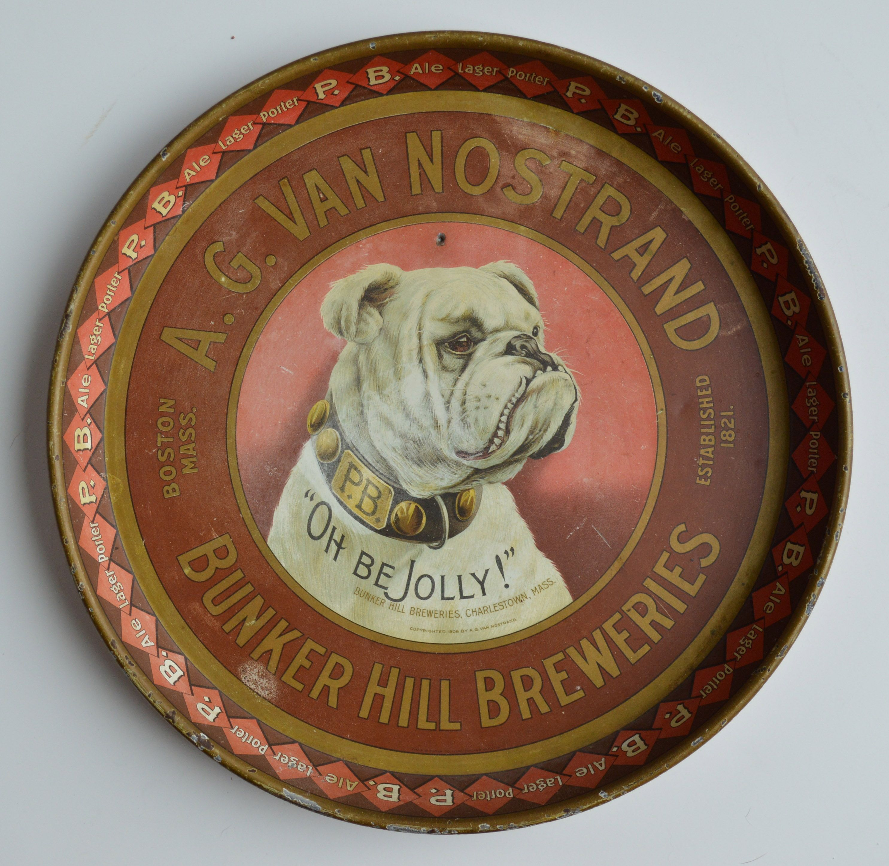 AG VAN NOSTRAND BEER TRAY BUNKER HILL BREWERIES BOSTON