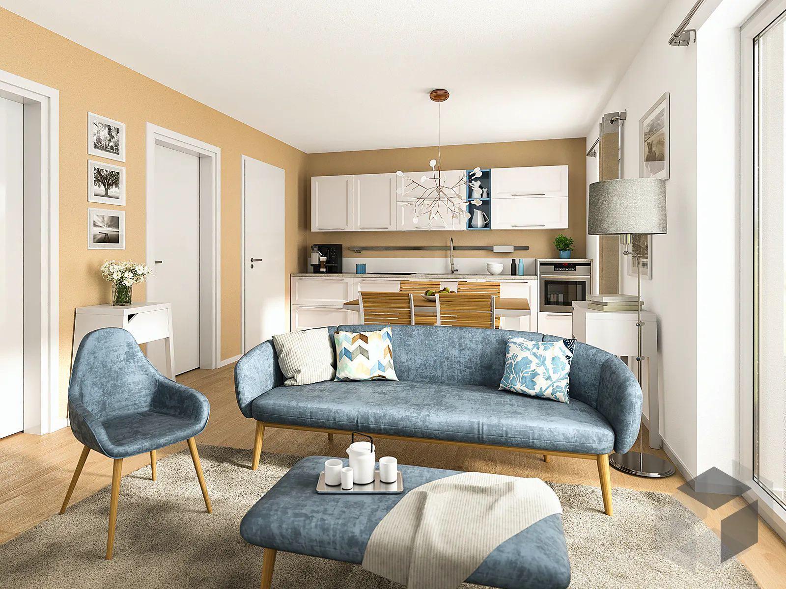 Wohnzimmer mit offener Küche klein   Wohnzimmer einrichten ...