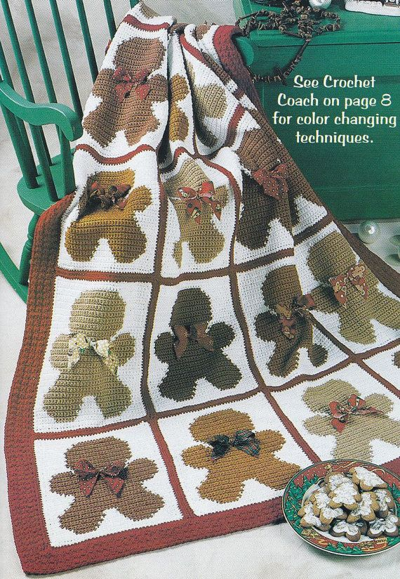 Christmas Afghan Knitting Patterns : Y969 Crochet PATTERN ONLY Gingerbread Man Afghan Throw Pattern Christmas af...