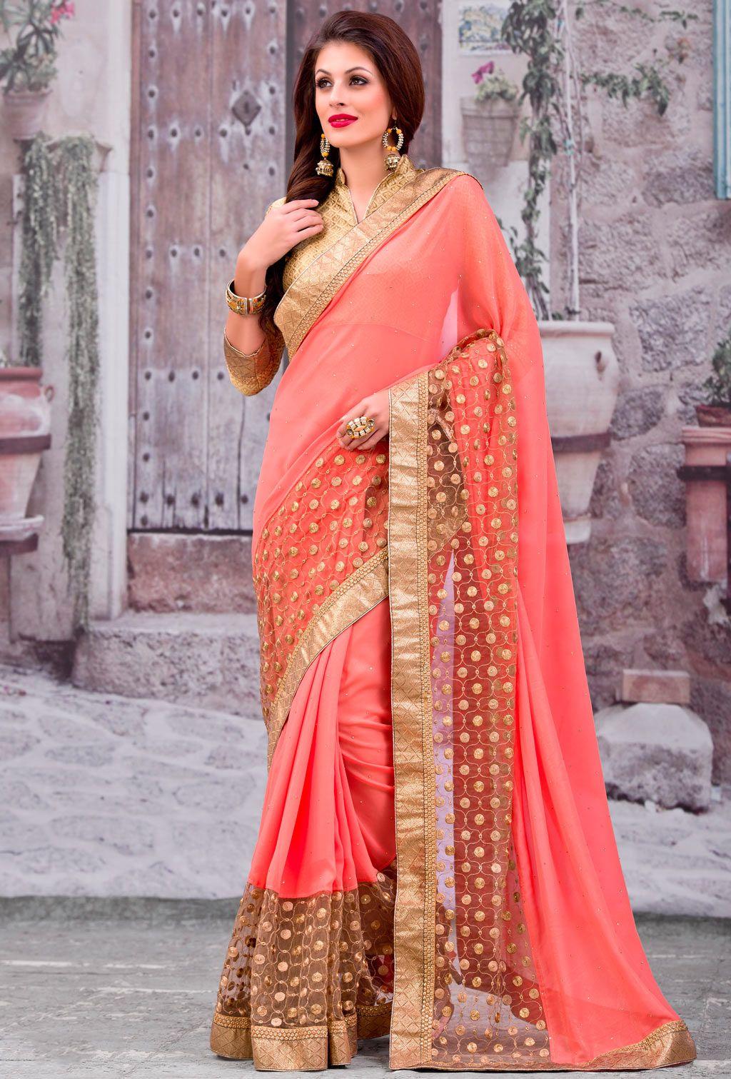 Peach color saree for wedding peach georgette party wear saree   saree u kurtha  pinterest