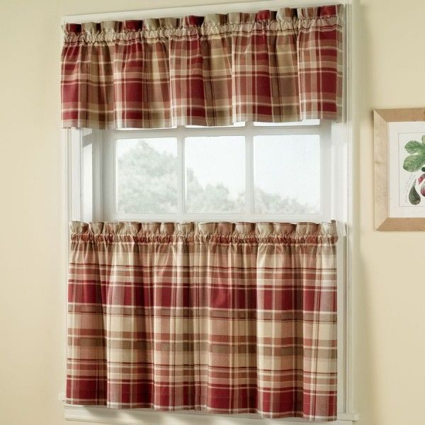 Attractive Plaid Design Kitchen Curtains Sets