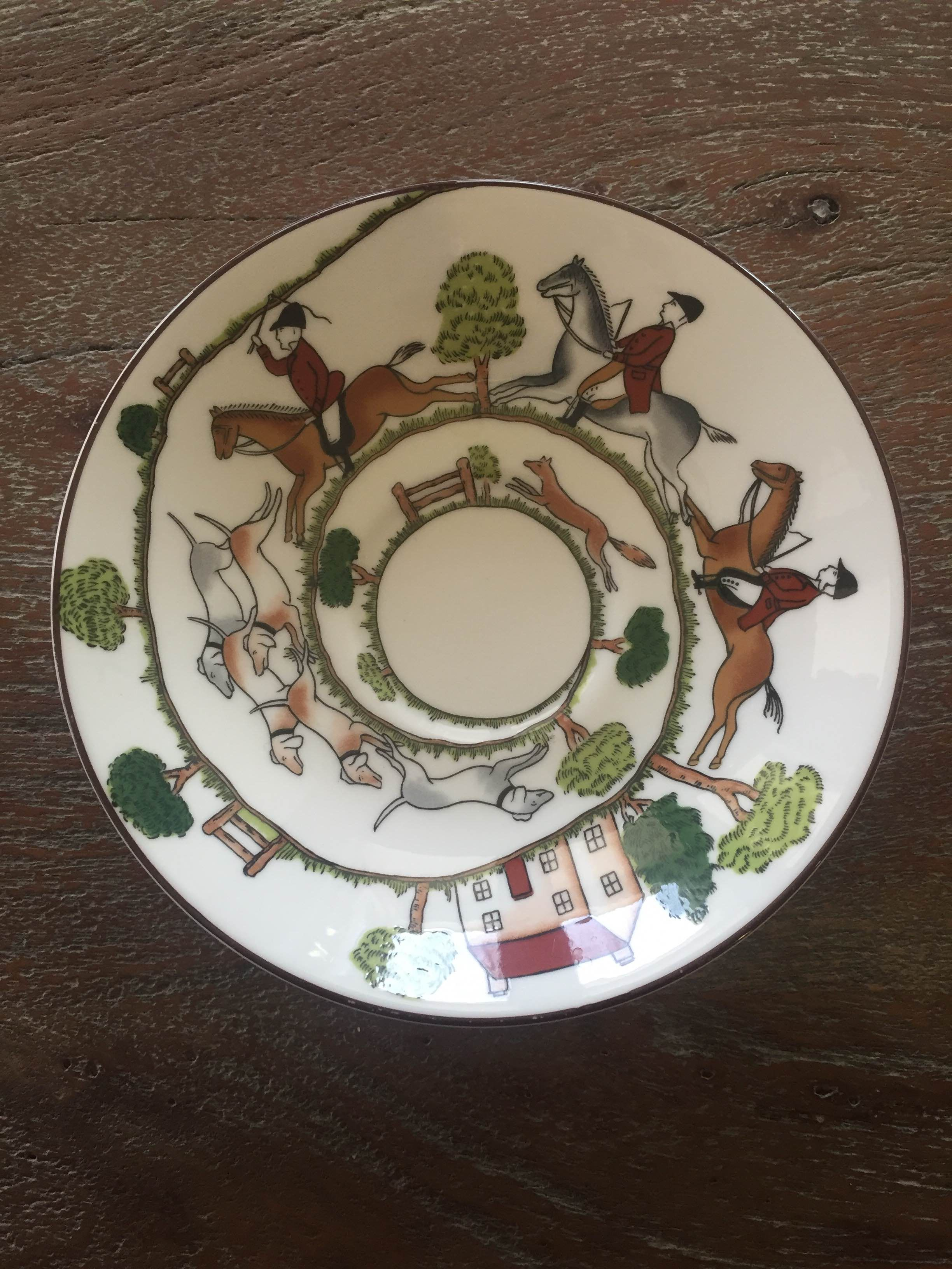Crown Staffordshire saucer - Hunting Scene pattern. This is part of a 10-piece tea set sold in our vintage shop. These dishes were featured on One King's Lane recently and is a perfect addition for your French Country or English decor. Made in England. Antique. Vintage.  https://www.etsy.com/listing/263063391/crown-staffordshire-tea-set-10-piece?ref=shop_home_active_10 Gidget's Vintage Finds