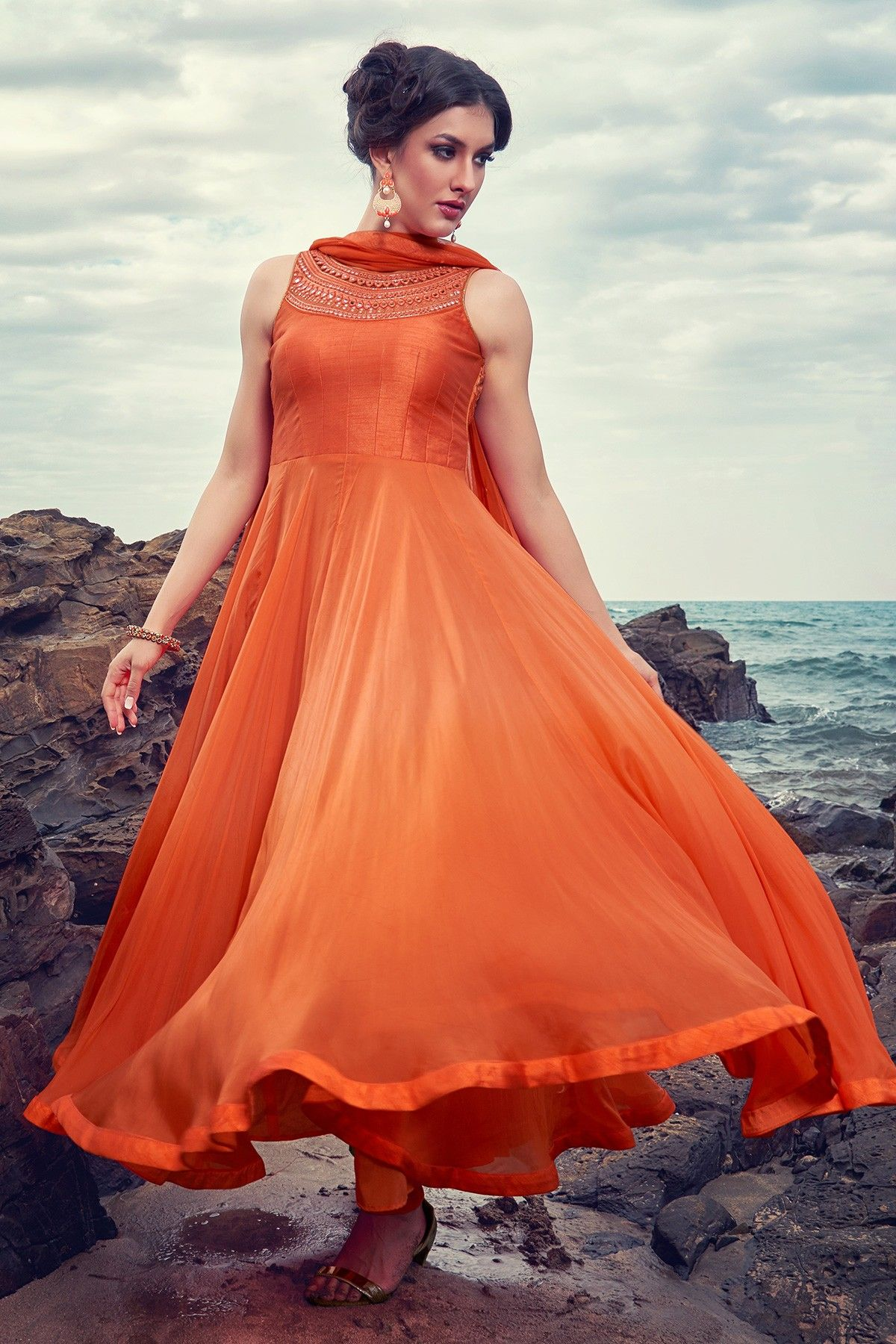 f83098f039 Orange enticing #georgette #anarkali salwar with boat neck-SL5982 ...