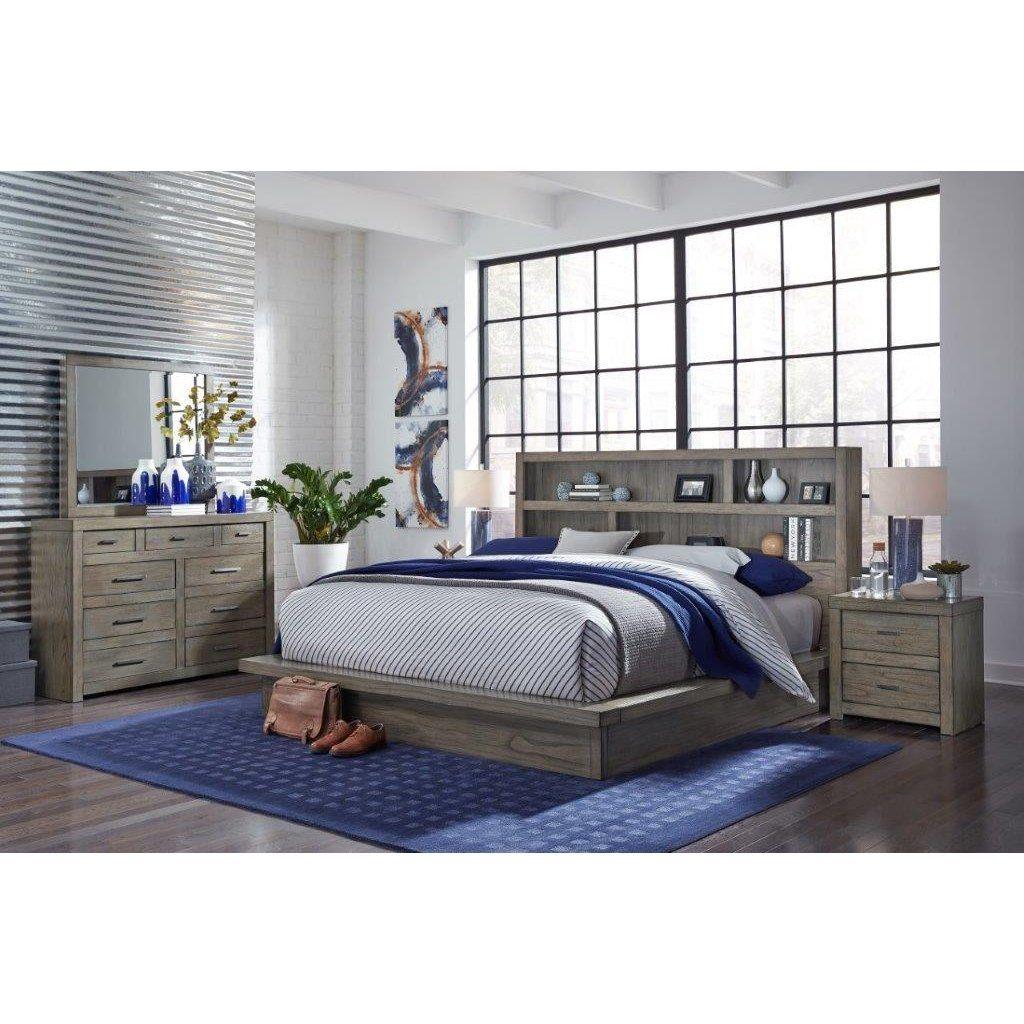 Best Brownstone Gray 4 Piece Queen Bedroom Set Modern Loft 400 x 300