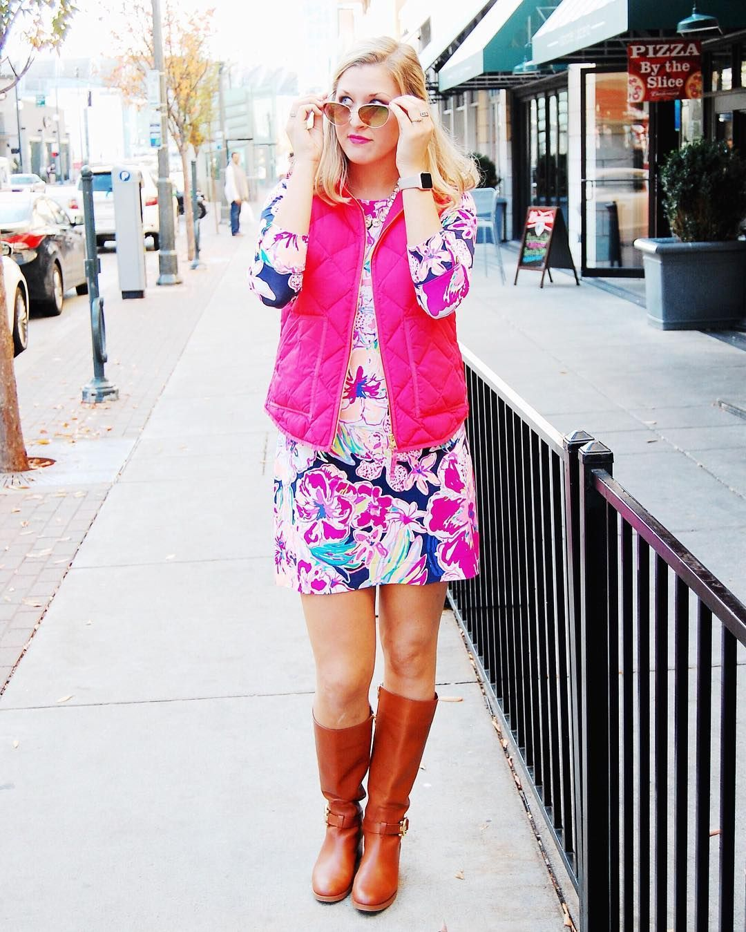 Lilly Pulitzer Sophie Dress + Pink J.Crew Blazer with Riding Boots ...