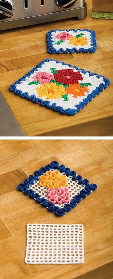 May Flowers potholder & coaster, free pattern from Coats & Clark ...