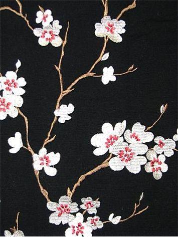 Hangzhou Ebony Embroidered Cherry Blossom Fabric 100