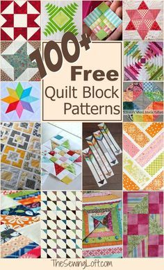 Keep your creative juices flowing with over 100 free quilt blocks rounded up in one place. Whether you are a beginner quilter just starting out or a more advanced quilter looking for a change and a challenge, you'll all find a quilt block idea here that's perfect for you. Includes paper piecing quilt blocks, scrap busting projects, stars, and shapes to make you dizzy with delight! From The Sewing Loft