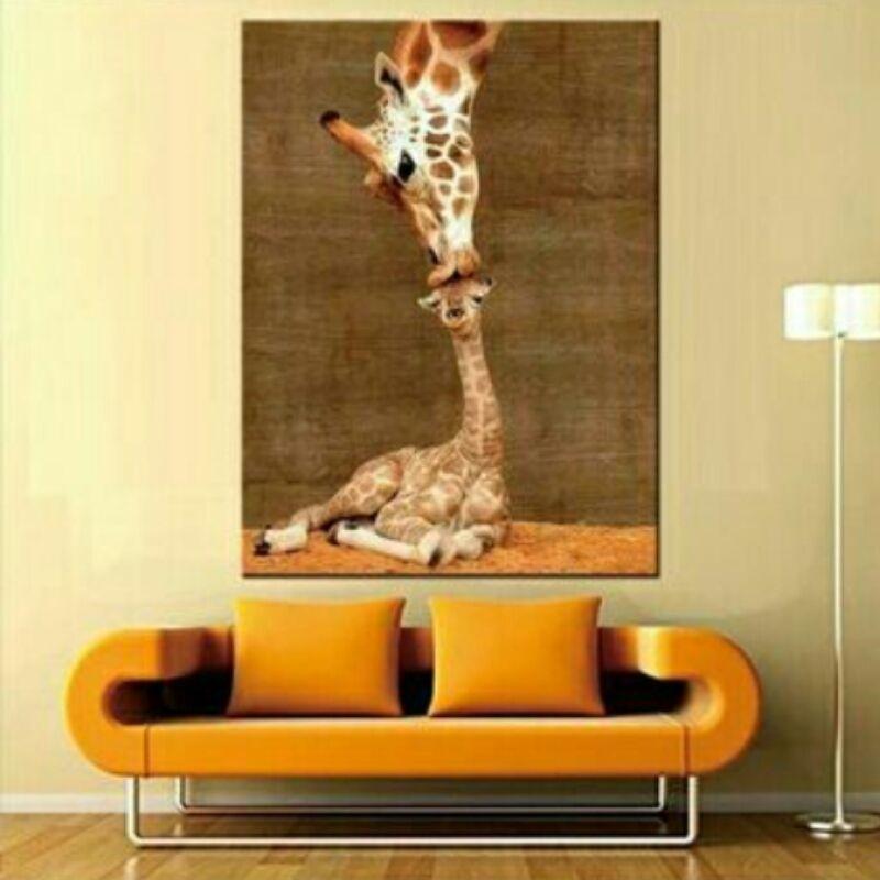 Modern Giraffe Family Wall Art on Canvas | Family wall art, Family ...