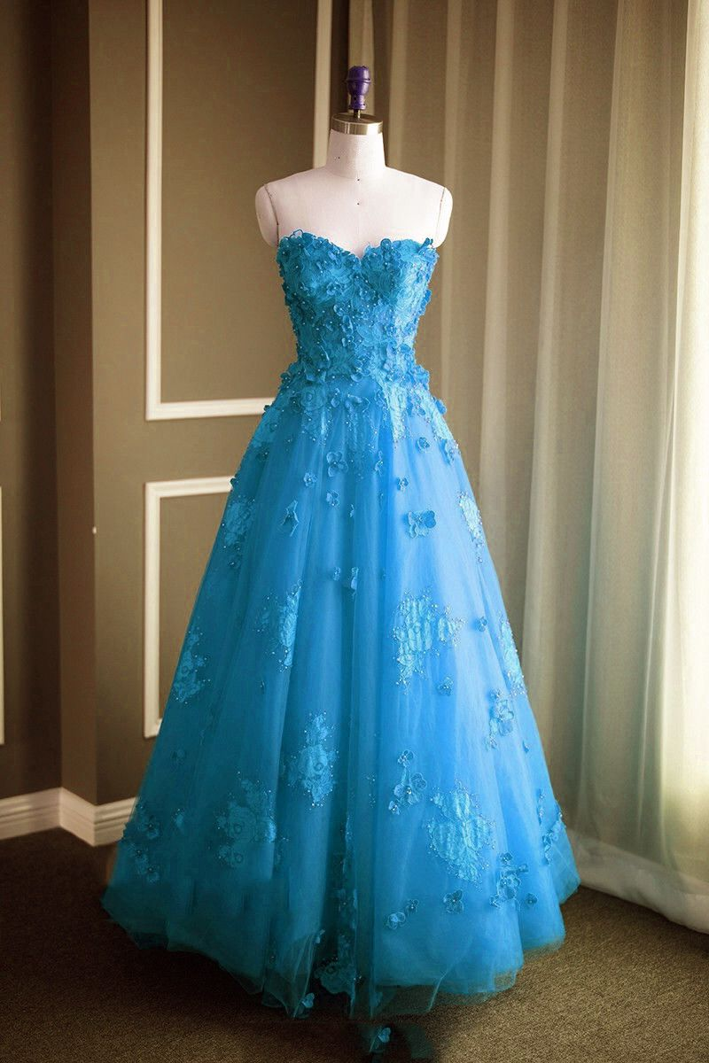Ice Blue Prom Dress,Sweetheart Prom Dress,Tulle Evening Gowns,Long ...