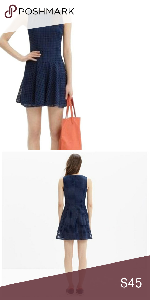 3902ae848b0 Madewell Navy Blue Eyelet Lace Sunshade Dress Brilliantly structured in  light-as-air eyelet