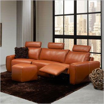 Napoleon Sectional Sofa with headrests and recliners white or