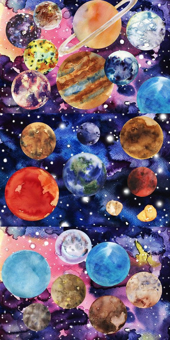 Watercolor Big Solar System Set Solar System Painting Solar