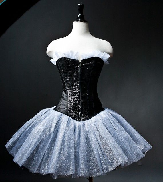 9f315eeef4b Custom small black and silver sparkle tulle corset by Glamtastik ...