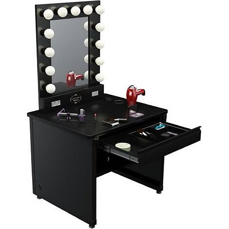 Broadwayvanitymirrorwithlights salon grade broadway broadway lighted vanity desk x black frame black surface mozeypictures Choice Image
