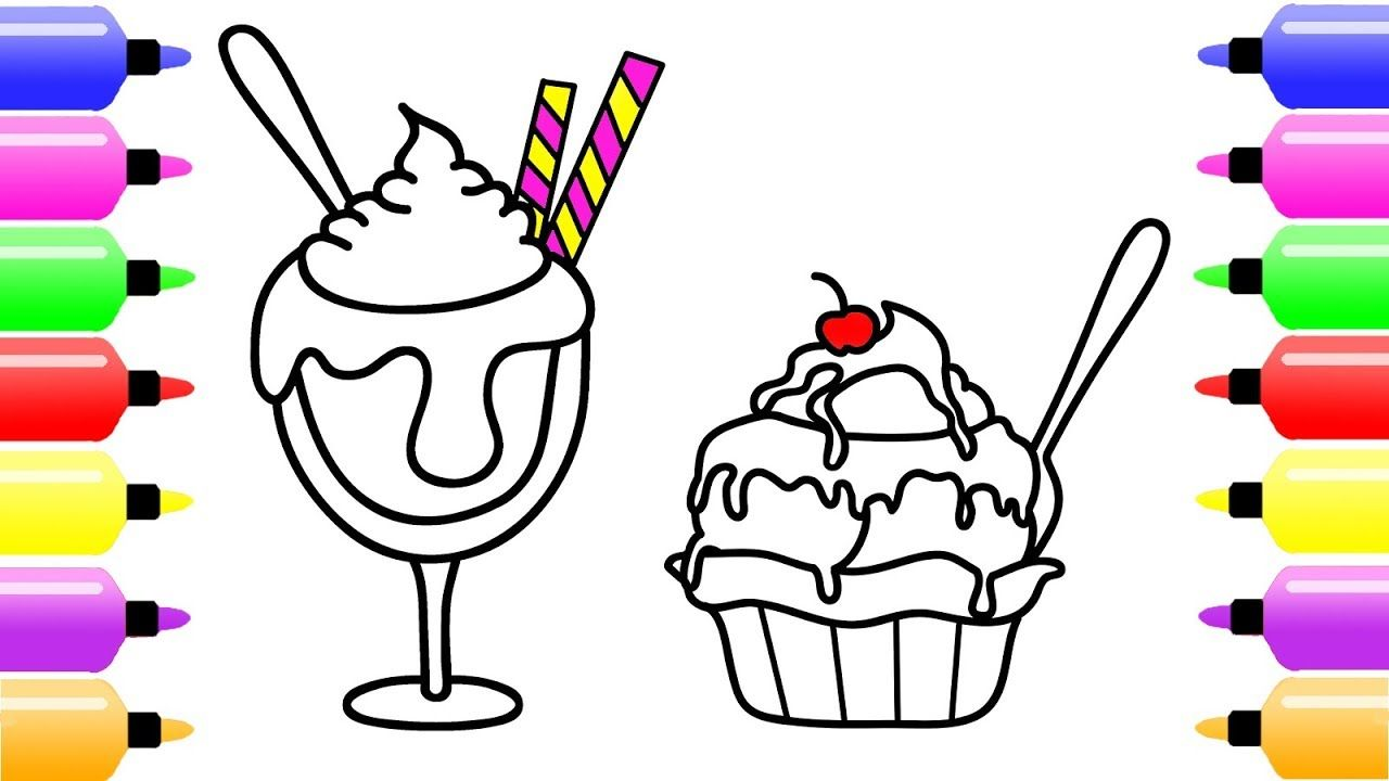 Ice Cream Cup Drawing And Coloring Pages For Kid Cute Art Book Baby