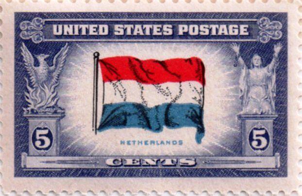 US postage stamp, 5 cents.  Netherlands.  Issued 1943.  Scott catalog 913.