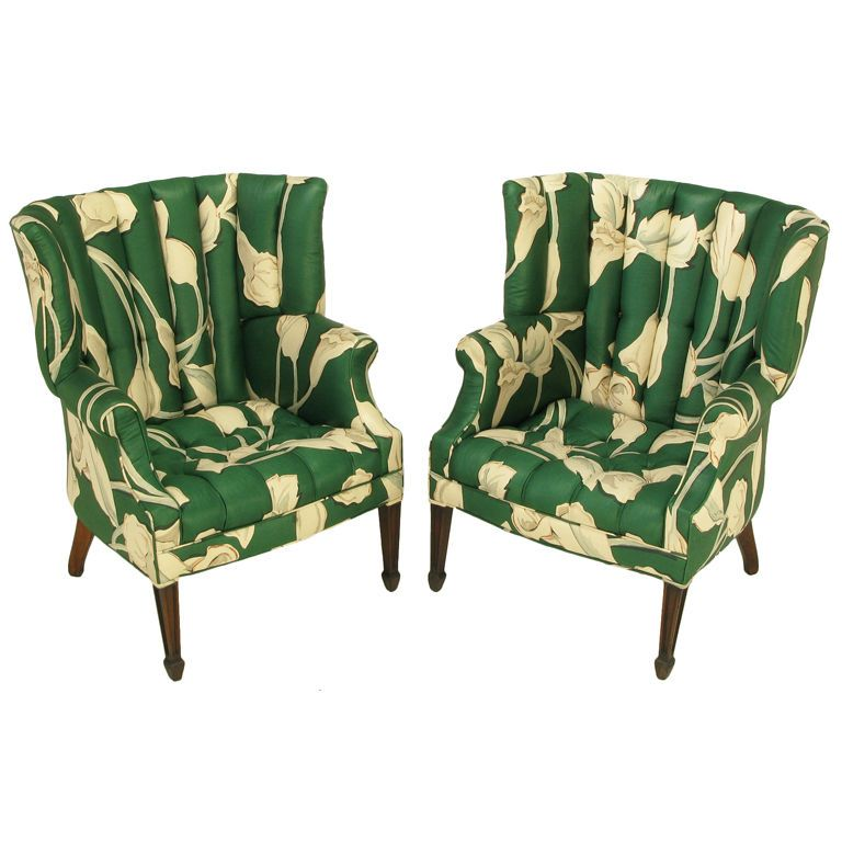 1stdibs | Pair Curved U0026 Channelback Floral Upholstered Wing Chairs.