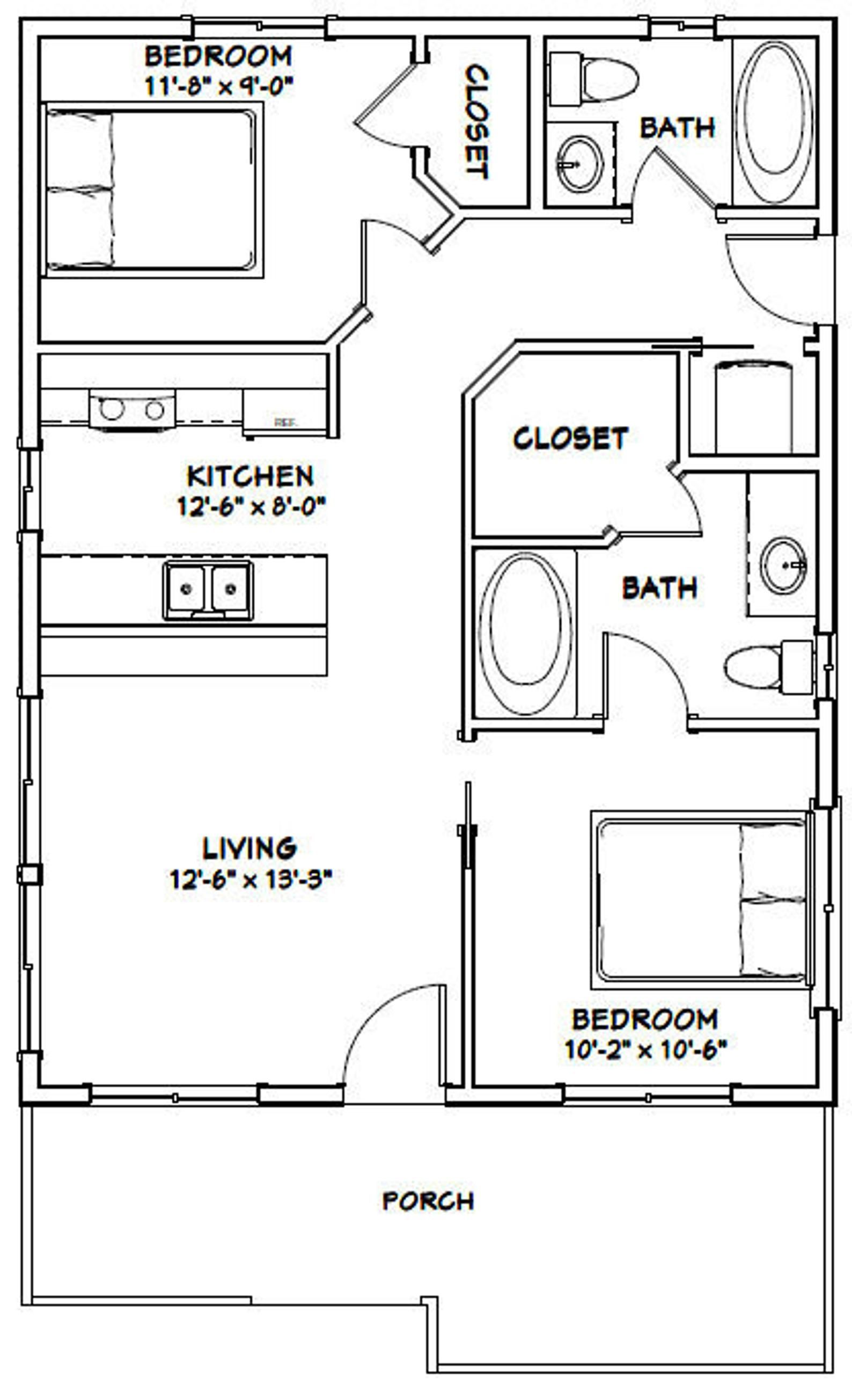 24x32 House 2 Bedroom 1 Bath 768 Sq Ft Pdf Floor Plan Instant Download Model 1c Small House Floor Plans House Floor Plans House Plans