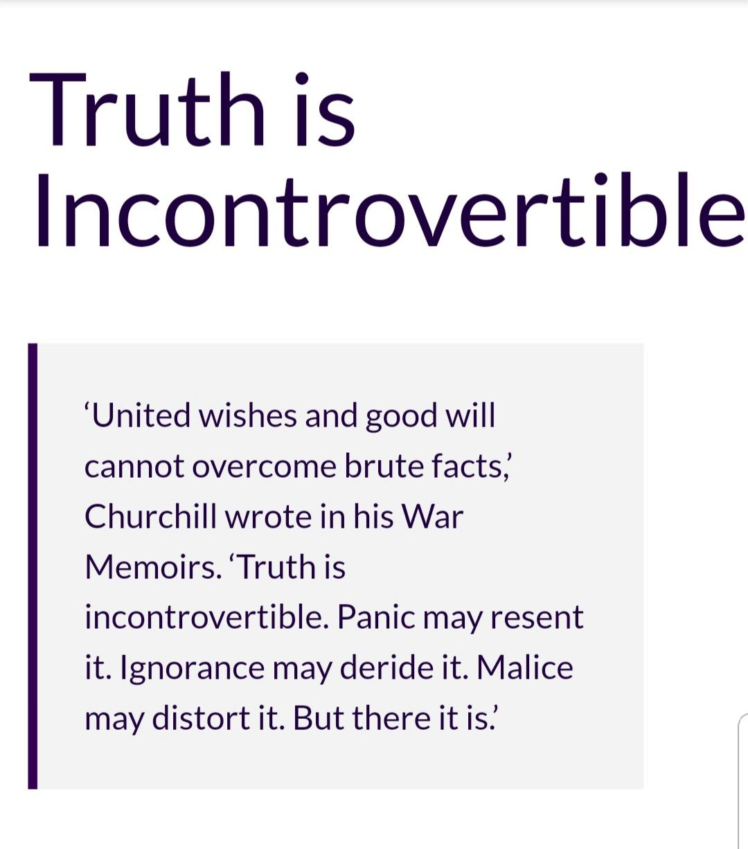 Winston Churchill - Truth is incontrovertible | Positive ...