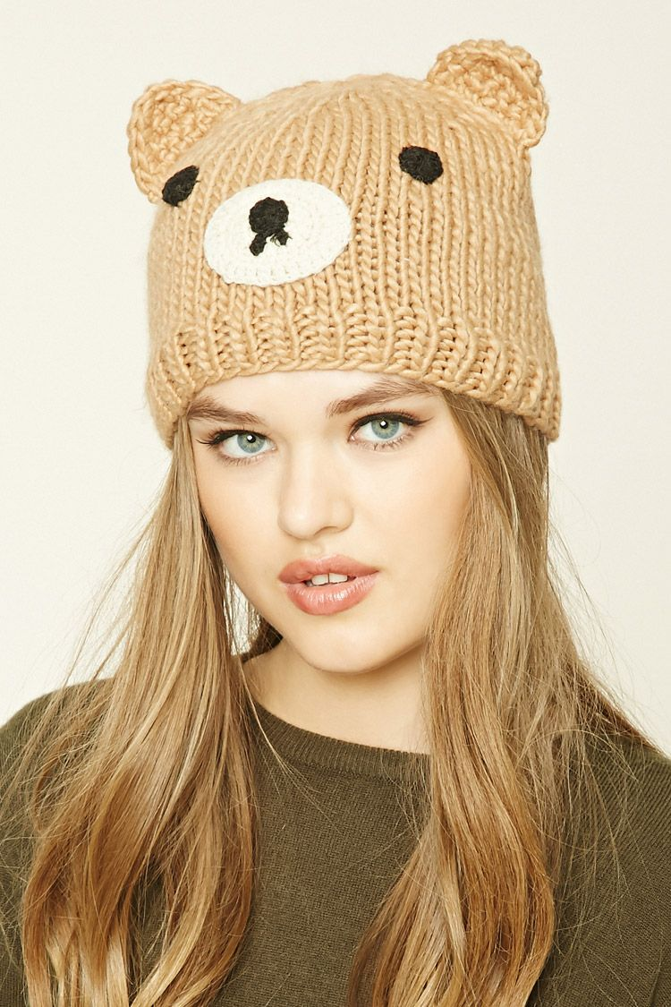 85490052487 A ribbed knit beanie featuring a stitched bear face and bear ears ...